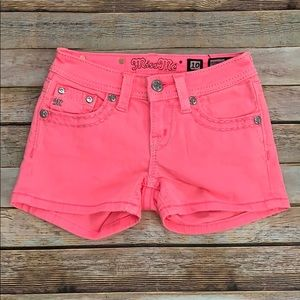 Girl's Neon Pink Miss Me Shorts